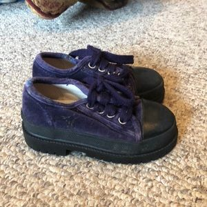 Gap purple velvet lace up platform vintage boots 8